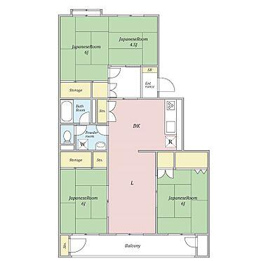 中古マンション-横浜市神奈川区神大寺2丁目 和室を分けて4LDKに容易に変更できます