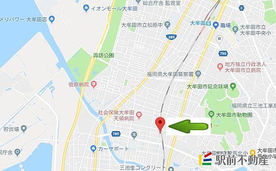 マンション(建物全部)-大牟田市天領町1丁目 現地案内図