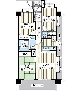 区分マンション-浦安市北栄3丁目 南東北東角部屋。67.96平米の3LDK。車が通る道路に面していないお部屋です。