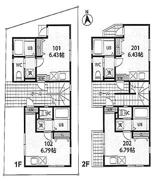アパート-船橋市二和東6丁目 全室角部屋につき、日当り良好です。木造2階建て・1R×4戸・バス・トイレ別、システムキッチン(IHコンロ)、浴室乾燥暖房機、ウォシュレット、エアコン完備。