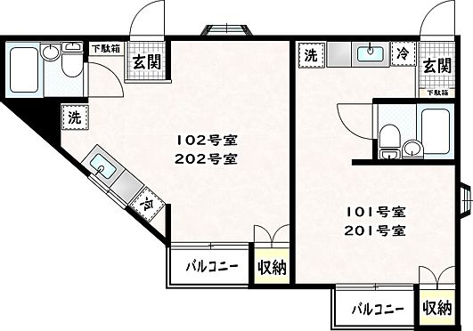 アパート-八王子市上柚木 1階2階は同様の間取りです