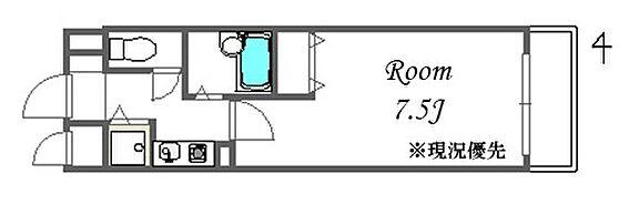 区分マンション-大阪市中央区東高麗橋 水まわりと居室を分けた暮らしやすい間取り