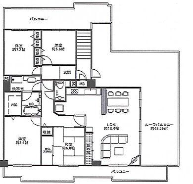 マンション(建物一部)-神戸市北区日の峰5丁目 3面バルコニーを備えた開放的な室内