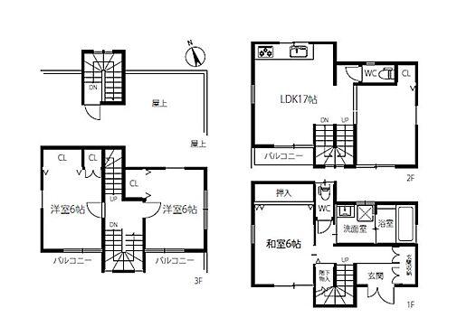 戸建賃貸-刈谷市一ツ木町清水田 3階建て3LDKの中古戸建です。収納も充実しています。