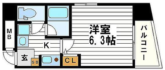 区分マンション-大阪市中央区内淡路町3丁目 間取り