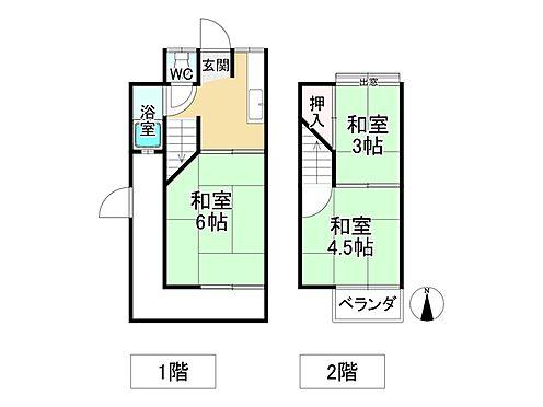 中古テラスハウス-京都市伏見区横大路下三栖山殿 間取り