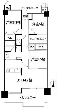 中古マンション-神戸市須磨区多井畑南町 間取り