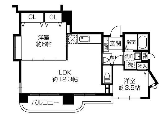 区分マンション-大阪市中央区東平2丁目 広々した間取り