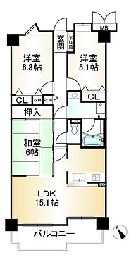 中古マンション-神戸市須磨区道正台1丁目 間取り