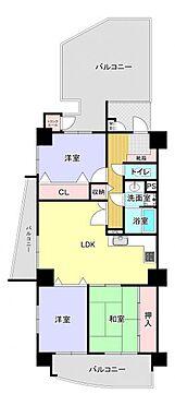中古マンション-福岡市南区横手4丁目 角部屋3LDK、74m2超の間取りです♪