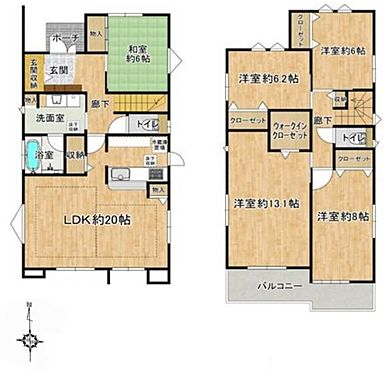 戸建賃貸-名古屋市北区北久手町 ゆとりある5LDK!各居室6帖超えです。