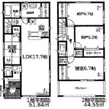 新築一戸建て-名古屋市天白区保呂町 2SLDKの間取り♪納戸も洋室としてお使い頂ける広さです♪