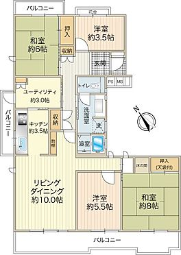 中古マンション-八王子市南大沢4丁目 オーソドックスな間取りの3LDK。北側でもお部屋が明るいのが特徴です。