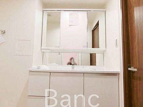 中古マンション-葛飾区水元1丁目 使い勝手のいい洗面台です。照明、コンセントもついています。鏡面裏は収納になっておりますので洗面台周りがごちゃごちゃせずスッキリ使用できます。