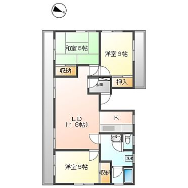 マンション(建物全部)-川崎市幸区下平間 301号室間取り