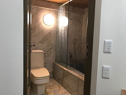 区分マンション-港区三田5丁目 浴室はバズタブの横にトイレを配置し、ホテルの様なつくりになっています。