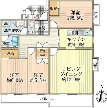 区分マンション-八王子市南大沢4丁目 使いやすい間取りの3LDK。現在和室2部屋は洋室にリフォーム済みです。