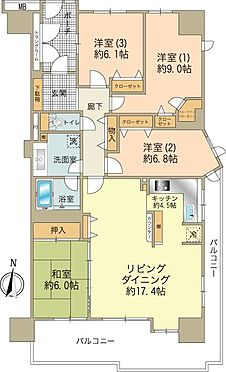 中古マンション-八王子市鑓水2丁目 約111m2の4LDKタイプ、各居室6帖以上のゆとりある間取りです