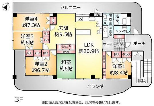 アパート-中頭郡読谷村字比謝 3F 間取り図