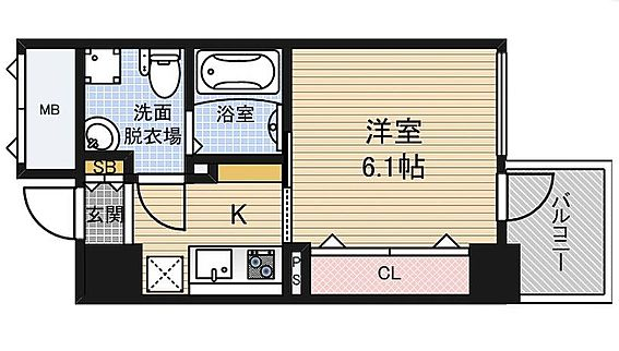 マンション(建物一部)-大阪市福島区玉川3丁目 広々とした洋室。バストイレ別で清潔感あり。