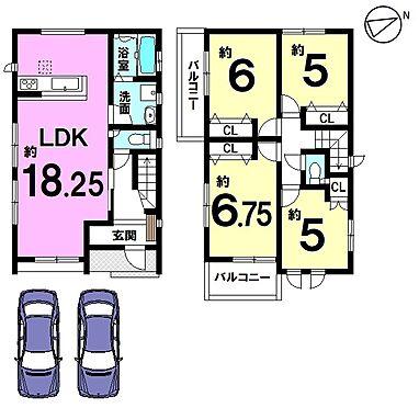 新築一戸建て-大和高田市大字有井 LDK18帖、2階に4室をもうけた4LDKの物件です。収納スペースを全室に確保。並列で2台駐車可能です