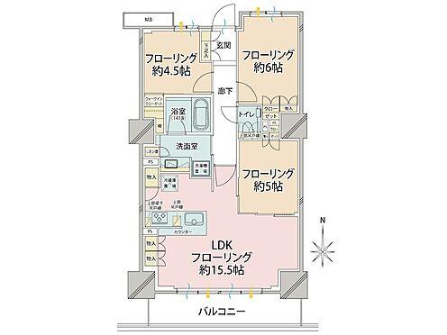 中古マンション-品川区東品川4丁目 理想的な3LDKのお部屋ですね。