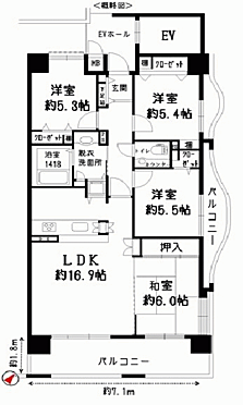 マンション(建物一部)-福岡市博多区奈良屋町 間取り