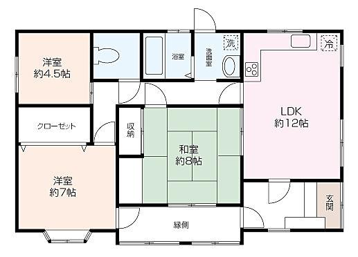 戸建賃貸-横須賀市上町4丁目 【平屋建て間取】 3LDK、91?の広々とした間取です。