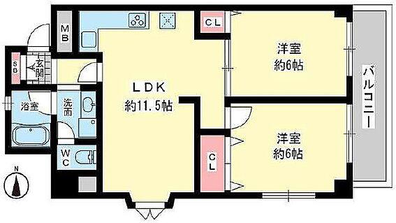 中古マンション-豊中市中桜塚5丁目 間取り