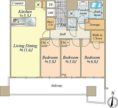 中古マンション-中央区晴海2丁目 全室バルコニーに面した3LDK、南向きで明るいお部屋です