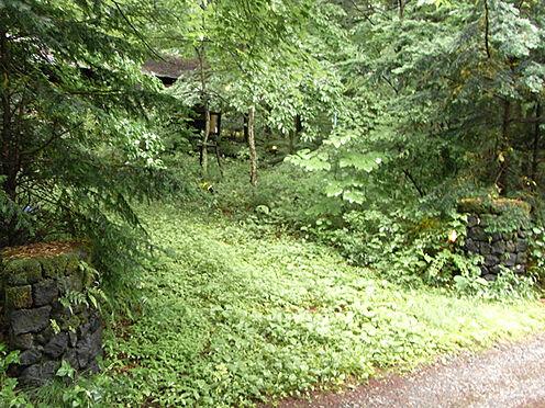 中古一戸建て-北佐久郡軽井沢町大字長倉 駐車スペースの様子です。浅間石の門柱も設えてあります。