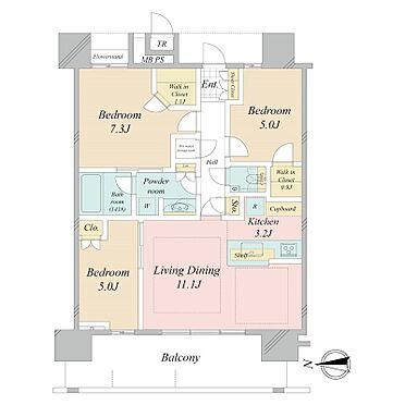 中古マンション-江東区豊洲3丁目 70.59m2の3LDK
