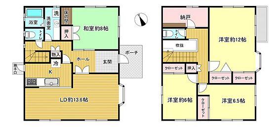 中古一戸建て-刈谷市築地町2丁目 4SLDK。全部屋6帖以上あり、ゆったりした間取りです。
