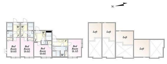 アパート-府中市美好町3丁目 ※全居室ロフト付き/1階・2階共通間取り
