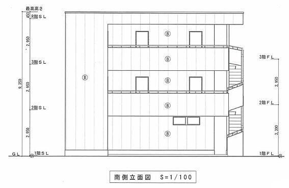 マンション(建物全部)-川越市大字小堤 南側 立面図