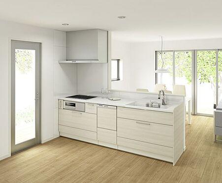 新築一戸建て-大野城市仲畑3丁目 タッチレス水栓、人造大理石一体型シンク採用でより快適なキッチン。家事の時短に欠かせない食洗機付き。