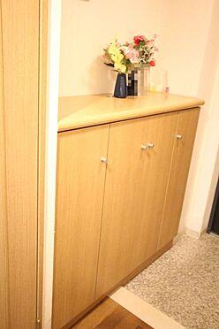 中古マンション-桜井市大字谷 玄関にはシューズボックスと物入を配置。散らかりがちな場所の整理に役立ちます。