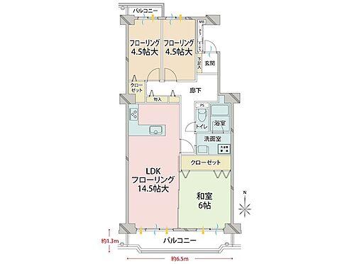 中古マンション-品川区八潮5丁目 理想的な3LDKで人気のあるお部屋です。南向きで両面バルコニー。間取りに無駄がないです。