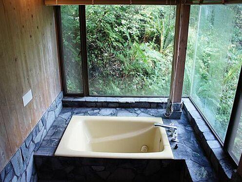 中古一戸建て-北佐久郡軽井沢町大字長倉 まるで森の中の露天風呂気分になれそうな大きな窓の付いた浴室。贅沢なリフレッシュ空間ですね。