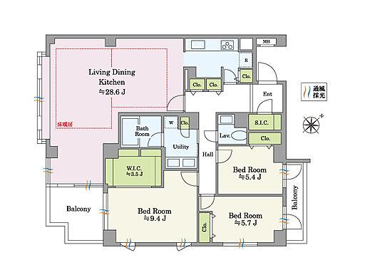 区分マンション-文京区白山2丁目 南向きの角住戸。風通しのよい開放的な空間です。