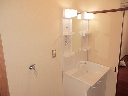 戸建賃貸-熊谷市江南中央3丁目 シャンプードレッサー付洗面化粧台。隣は洗濯機置き場が有。
