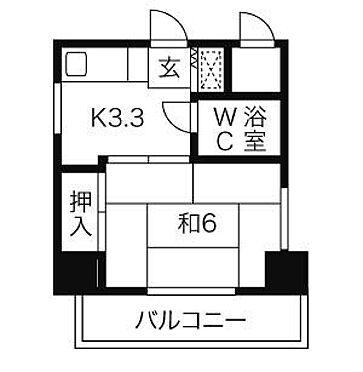 マンション(建物一部)-広島市中区舟入本町 平面図(開口部北向き)