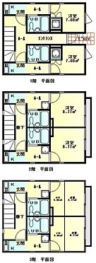 アパート-荒川区荒川1丁目 1階から3階までの間取図です。