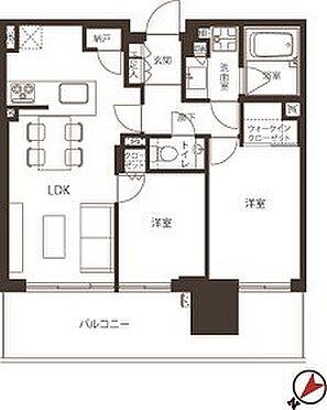 中古マンション-江東区有明2丁目 54.24m2の2LDK、北西向き