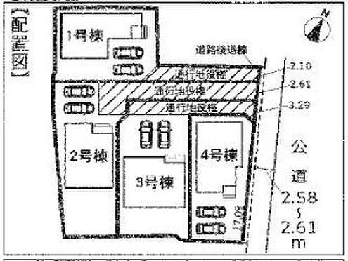 戸建賃貸-知多市八幡字荒古後 全体の区画図です!駐車は2台可能です!(車種によります)