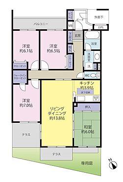 中古マンション-稲城市若葉台4丁目 全居室がテラスか専用庭かバルコニーの開口部に面しております。