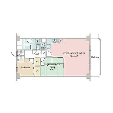 区分マンション-横浜市港北区綱島西1丁目 約16.5畳の広々LDK
