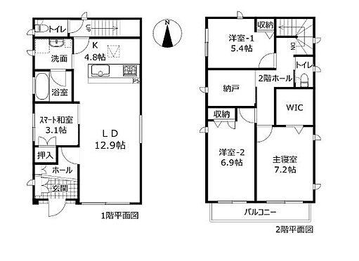 戸建賃貸-みよし市三好町大坪 敷地面積約45坪超え、使いやすい4SLDKの間取りです。