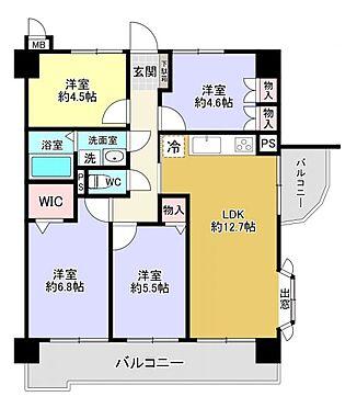中古マンション-福岡市東区箱崎7丁目 4LDK、専有面積74.46m2、バルコニー面積14.83m2