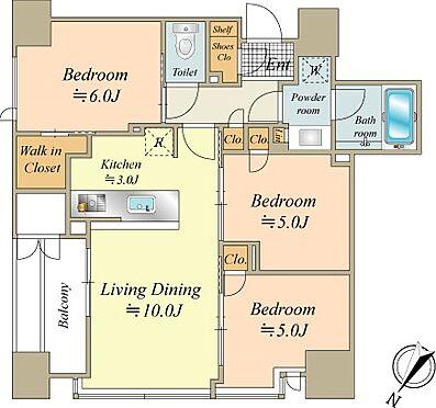 中古マンション-中央区月島2丁目 66.12m2の3LDK、北東・北西角住戸